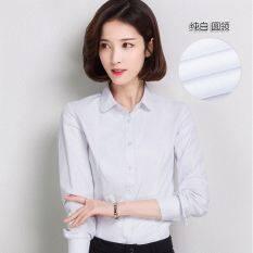 ขาย ซื้อ ฮันผ้าฝ้ายฤดูใบไม้ผลิสีขาวเพศหญิงหลวมแขนยาว แขนยาว สีขาวคอกลมเสื้อ ใน ฮ่องกง