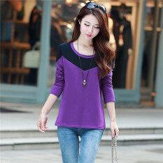 ขาย เกาหลีแขนยาวสวมใส่ด้านนอกสลิมเสื้อยืดผ้าฝ้ายเสื้อ สีม่วง