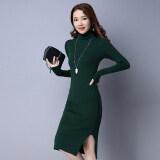 หญิงใหม่แน่นบางชุดคอเต่า สีเขียวเข้ม ถูก
