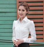 ทบทวน ฤดูใบไม้ผลิและฤดูร้อนใหม่เกาหลีเสื้อเชิ้ตสีขาว สีขาวแขนยาว
