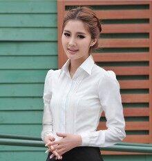 ราคา ฤดูใบไม้ผลิและฤดูร้อนใหม่เกาหลีเสื้อเชิ้ตสีขาว สีขาวแขนยาว