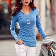 ราคา เสื้อฤดูใบไม้ผลิและฤดูใบไม้ร่วงใหม่เสื้อยืดผ้าฝ้ายแนวโน้ม สีฟ้า Unbranded Generic ออนไลน์