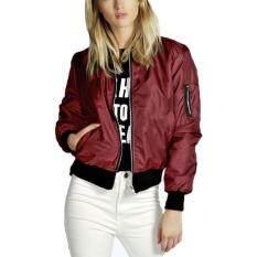 ซื้อ แฟชั่นสตรีเสื้อแจ๊คเก็ตมีเบาะมอเตอร์ไซค์คลาสสิควินเทจรูดซิปเสื้อนอก ใน จีน