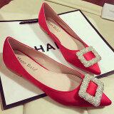 ขาย Mengshangli รองเท้าผู้หญิงส้นเตี้ย หัวแหลม สีแดง สีดำ สีเทาอ่อน สีแดง สีแดง ราคาถูกที่สุด