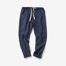 ซื้อ ญี่ปุ่นชายส่วนบางสลิมกางเกงฮาเร็มกางเกงผ้าลินินลำลองกางเกง สีน้ำเงินเข้ม ใหม่