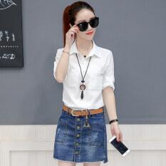 ซื้อ เสื้อเชิ้ตลำลองแขนยาวของผู้หญิง Jiemeiai สีชมพู สีขาว สีเหลือง สีขาว สีขาว ออนไลน์ ถูก