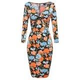 ขาย Promotion Sunwonder Women 3 4 Sleeve V Neck Pencil Dress Bow Package Hip Slim Party Midi Knee Dress Intl จีน