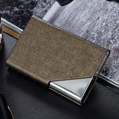 ส่วนลด Pu Leather Stainless Steel Business Card Holder Name Card Case With Magnetic Shut Bronze