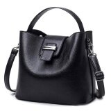 โปรโมชั่น Pu Leather Women Bag Fashion Large Top Handle Shoulder Bags Bucket Ladies Handbags Black Intl ใน จีน
