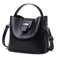 ซื้อ Pu Leather Women Bag Fashion Large Top Handle Shoulder Bags Bucket Ladies Handbags Black Intl ใหม่ล่าสุด