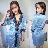 ขาย ชุดนอนมีเสื้อคลุม สไตล์น่ารักเซ็กซี่ สีฟ้า1052 ถูก กรุงเทพมหานคร