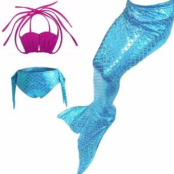 Purple Color Blocking 2017 New Style 4-10 Y Girls Kids Mermaid Tail Princess 3pcs/set Bikinis Swimsuit Kids Bathing Suit Costume S002 PurpleF - intl