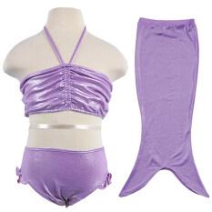 ขาย สีม่วงเงือกหางชุดว่ายน้ำฤดูร้อน 3 ชิ้น เซ็ตบิกินี่ชุดว่ายน้ำสำหรับ 3 10 ปีเด็กผู้หญิง ถูก