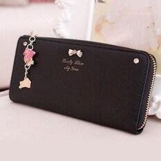 กุทัณฑ์nใหม่ผู้หญิงออกแบบแฟชั่นเครื่องหนังแข็งเหรียญเลดี้ผู้ถือบัตรกระเป๋าNโบว์วันคลัทช์กระเป๋าซิปยาว กระเป๋าสตางค์ สีดำ ใน จีน