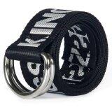 ราคา Q Shop Braided Stretch Double Ring Belt Canvas Fabric Woven Elastic Casual Letter Pattern Belt For Youthful(Black) Intl ที่สุด