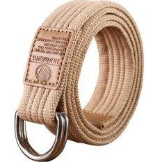 โปรโมชั่น Q Shop Canvas Belt Double D Ring Buckle Unisex Casual Designed For Youthful 115Cm(Khaki)