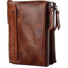 ขาย Q ร้านผู้ชายแท้ Horsehide กระเป๋าสตางค์หนัง Bifold พร้อมซิปกระเป๋าคู่ที่เรียบง่ายเหล้าองุ่น Horsehide กระเป๋าสตางค์หนัง จีน ถูก