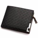 ซื้อ Q Shop Men Short Wallet Men S Zipper Bifold Wallet With High Quality Soft Pu(Black) Intl ถูก ใน จีน