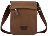 ความคิดเห็น Q Shop Small Vintage Canvas Leather Messenger Cross Body Bag Pack Organizer Coffee Intl