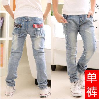 Review สีอ่อนเด็กบางเด็กชายกางเกงฟุตกางเกงยีนส์ (Q8023-กางเกงเดียว)
