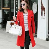 ซื้อ เสื้อโค้ทสำหรับผู้หญิง สไตล์เกาหลี 2017 สีแดง Unbranded Generic