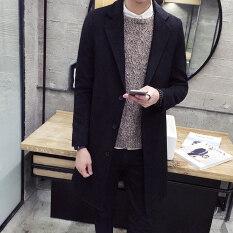 ขาย เสื้อ Windbreaker เกาหลีทำด้วยผ้าขนสัตว์ชายส่วนยาว สีดำ ฮ่องกง