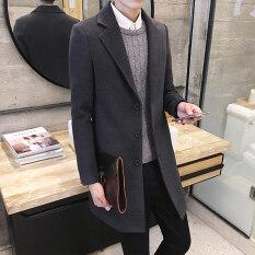 ส่วนลด เสื้อ Windbreaker เกาหลีทำด้วยผ้าขนสัตว์ชายส่วนยาว สีเทาเข้ม ฮ่องกง