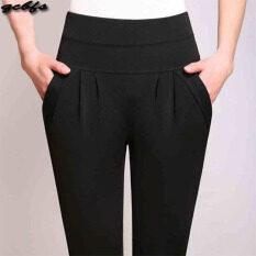 ราคา Mm เสื้อผ้าแฟชั่น กางเกงลำลองหญิงยืดกางเกงหลวมบาง สีดำ ออนไลน์