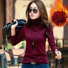 ราคา ป่าบวกกำมะหยี่สลิมกองปกเสื้อขนาดเล็ก Qiudong เสื้อคอปกเสื้อสูง ไวน์แดง บวกกำมะหยี่หนา ใหม่