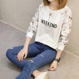 ราคา ราคาถูกที่สุด หลวมบนใหม่สวมใส่ด้านนอก Qiuyi เสื้อยืด 158 สัปดาห์ End สีขาว