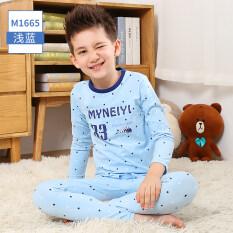 โปรโมชั่น ฤดูใบไม้ร่วงและฤดูหนาวผ้าฝ้ายเด็กชายวัยรุ่นส่วนบางชุดนอนเด็ก Qiuyi M1665 สีฟ้าอ่อน ใน ฮ่องกง