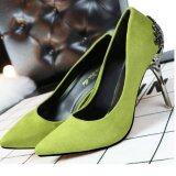 ขาย ซื้อ Qizhef Ladies Fashion Of Carve Patterns Or Designs On Woodwork Suede High Heels Green Intl ใน จีน