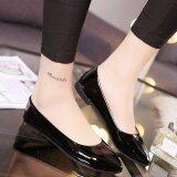 ขาย Qizhef Ladies Fashion Pure Color Pu Flat Shoes Black Intl ใน จีน