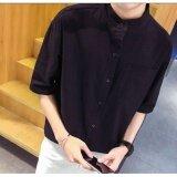 ขาย ซื้อ Qizhef Men Have A Short Sleeve Shirt With Flax Black Intl จีน