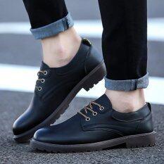 ขาย Qizhef Men S Fashion Lace Up Pure Color Leisure Leather Shoes Black Intl Unbranded Generic ถูก