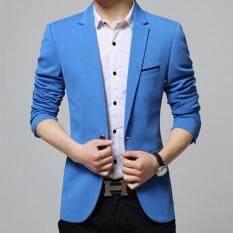 ขาย Qizhef Men S Korean Youth Small Suit Coat Of Cultivate One S Morality Blue Intl
