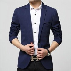 Qizhef Men S Korean Youth Small Suit Coat Of Cultivate One S Morality Navy Blue Intl ใหม่ล่าสุด