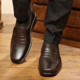 แฟชั่น Qizhef ผู้ชายรองเท้าหนังสีน้ำตาล สีน้ำตาล สนามบินนานาชาติ ถูก