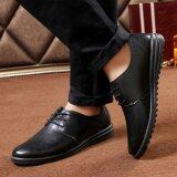ขาย Qizhef Qizhef Men S Pure Color Lace Up Business Leisure Leather Shoes Black Intl จีน