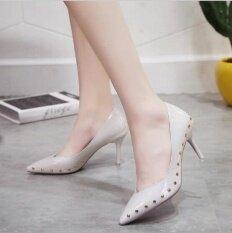 ขาย Qizhef แฟชั่นส้นสตรีแฟชั่นส้นส้นสูงส้นรองเท้าส้นสูงส้น สีขาว นานาชาติ ใน จีน