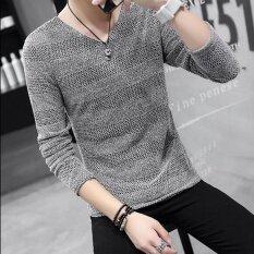 ขาย ซื้อ Qq Korean V Neck Knit Shirt Grey Intl จีน