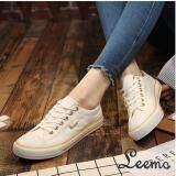 โปรโมชั่น รองเท้าผ้าใบผู้หญิง รุ่น B999 สีขาวขอบทอง Leemo
