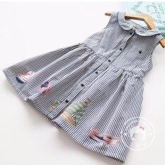 ส่วนลด Rainbow เสื้อผ้าเด็กเล็ก เสื้อผ้าเด็ก ชุดเด็ก ชุดกระโปรง ลายทางลงคอปกกระดุมหน้า Thailand