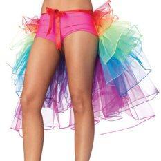 ราคา Rainbow Neon Tutu Skirt Rave Party Dance Half Bustle Burlesque S*xy Clubwear Intl เป็นต้นฉบับ
