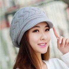 ราคา Ready4Girl หมวกแฟชั่นหน้าหนาว ไหมพรมถักลายนูน สีเทา ใหม่ล่าสุด