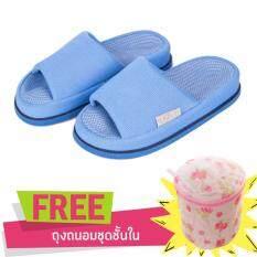 โปรโมชั่น Refre Okumura Slippers รองเท้านวดเพื่อสุขภาพ รองเท้าเพื่อสุขภาพ รองเท้าใส่ในบ้าน สีฟ้า Size M 35 39 แถม ถุงซักผ้า ถนอมชุดชั้นใน Refre ใหม่ล่าสุด