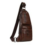 ขาย Retro Cowhide Leather Men Multifunction Chest Pack Unique Design Casual Sports Outdoor Leisure Crossbody Bag Fashion Hiking Daypack Cycling Travel Sling Bag Dark Brown Intl ราคาถูกที่สุด