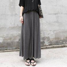 ราคา Retro High Waist Pleated Half Body Maxi Skirts Grey ใหม่ ถูก