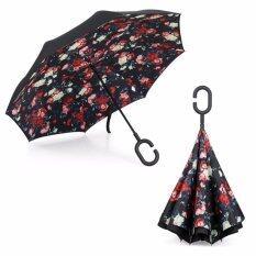ราคา Reverse Umbrella ร่มหุบกลับด้านมือจับตัว C ลายการ์ดอกกุหลาบป่า ออนไลน์