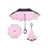 ราคา Reverse Umbrella ร่มหุบกลับด้านมือจับตัว C กันแดดUv ดำ ชมพูอ่อน ราคาถูกที่สุด
